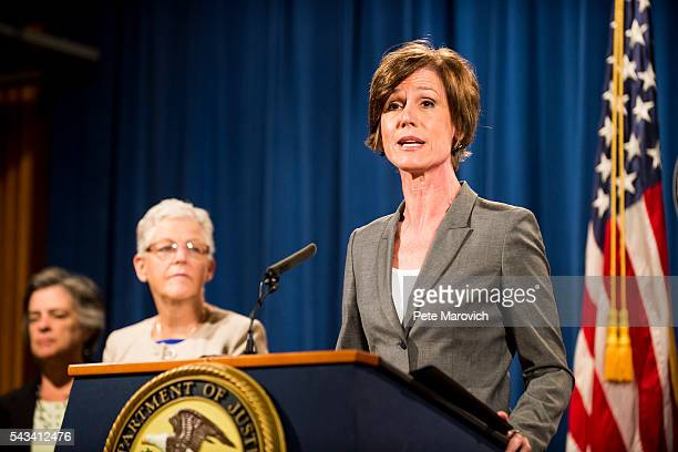 Deputy Attorney General Sally Q Yates speaks during a press conference at the Department of Justice on June 28 2016 in Washington DC Volkswagen has...