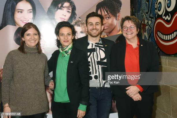 LREM Deputy Aurore Bergé producer Sandrine Bauer director Quentin Delcourt and LREM Deputy Carole Bureau Bonnard attend Pygmalionnes Screening at...