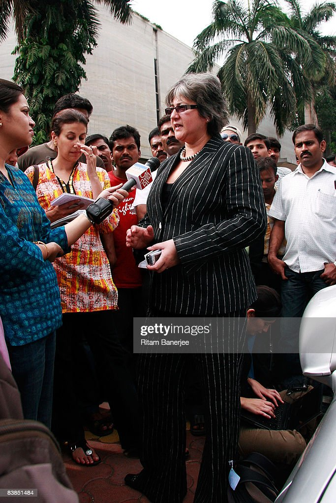 Deputy British High Commisioner, Vicki Treadell is interviewed outside the Oberoi Hotel on November 28, 2008 in Mumbai, India. Following terrorist attacks on three locations in the city, troops are now working to free the remaining hostages being held inside the Taj Mahal Palace Hotel.