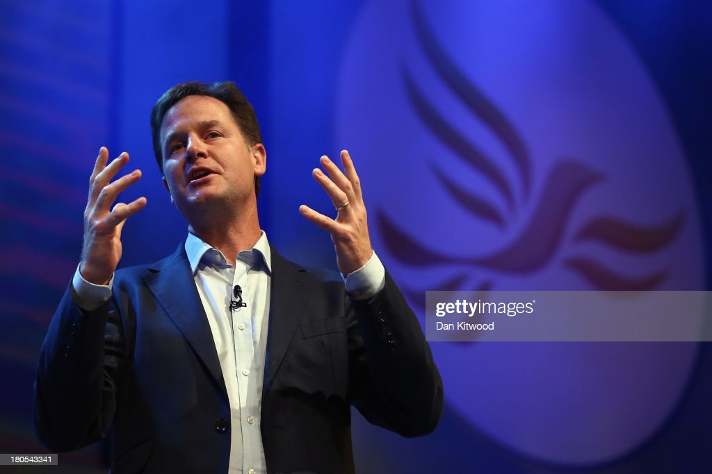 Deputy British Prime Minister and leader of the Liberal Democrats Nick Clegg speaks during a rally at the end of the first day of conference at the SECC, Scottish Exhibition and Conference Centre on September 14, 2013 in Glasgow, Scotland. The Liberal Democrat Autumn conference began in Glasgow today where the leader Nick Clegg addressed the audience during a rally this evening.