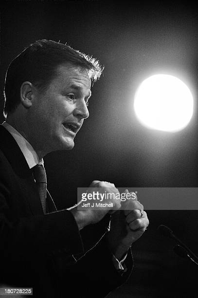 Deputy British Prime Minister and Leader of the Liberal Democrats Nick Clegg speaks to conference at the SECC Scottish Exhibition and Conference...