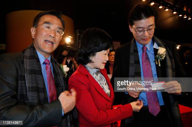 Deputy Chairman Michael Tien Puksun with Regina Ip Lau Sukyee and Louis Shih Taicho at the Inauguration Ceremony of New People's Party 09JAN11