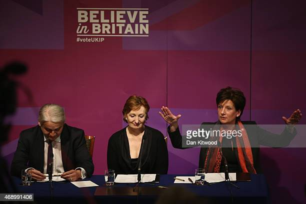 Deputy Chairman Suzanne Evans Diane James UKIP Councillor and Patrick O'Flynn UKIP candidate in Cambridge take part in a press conference on April 9...
