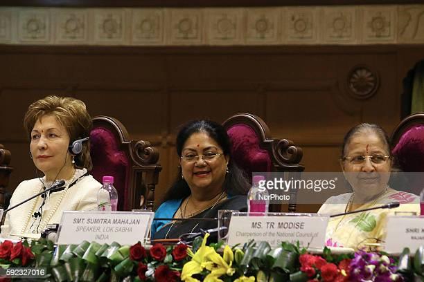 Deputy Chairperson of Council of Russian Federation Galina Karelova Rajasthan Chief Minister Vasundhara Raje and India's Lok Sabha Speaker Sumitra...