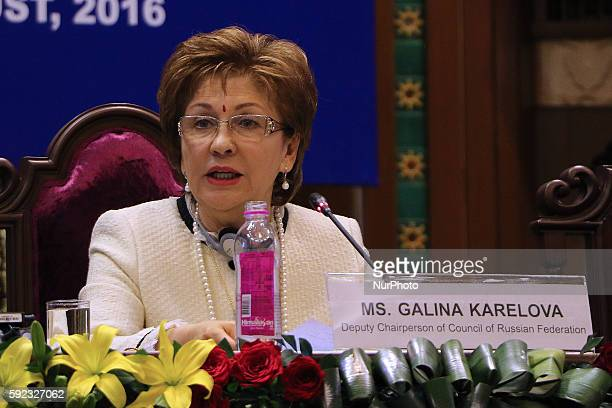 Deputy Chairperson of Council of Russian Federation Galina Karelova speaks during the Plenary Session' Perspectives on implementation of SDGs at...
