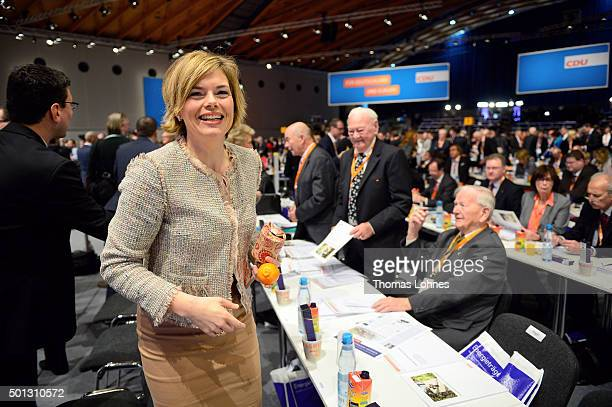 Deputy chairwoman of CDU party Julia Kloeckner pictured at the annual CDU federal congress on December 14 2015 in Karlsruhe Germany The CDU is...