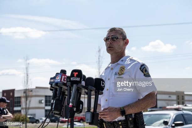 Deputy Chief Craig McCartt of the Indianapolis Metropolitan Police Department address the media with an update near the crime scene of the FedEx...