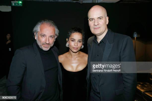 Deputy Chief Executive Officer of L'Oreal Luxe Cyril Chapuy YSL Beauty Makeup Ambassadress Zoe Kravitz and General Manager of YSL Beauty Stephan Bezy...