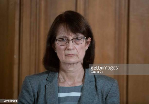 Deputy Chief Medical Officer Dr Jenny Harries looks on during a daily press conference at 10 Downing Street on March 20 2020 in London England During...