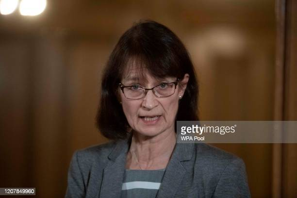Deputy Chief Medical Officer Dr Jenny Harries speaks during a daily press conference at 10 Downing Street on March 20 2020 in London England During...