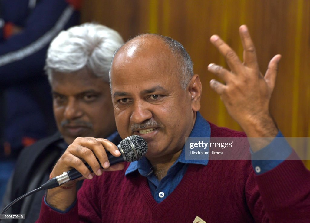 Deputy chief minister Manish Sisodia along with others addressing the media to announce the name of three members for Rajya Sabha, at CM House in Civil Lines on January 3, 2018 in New Delhi, India.