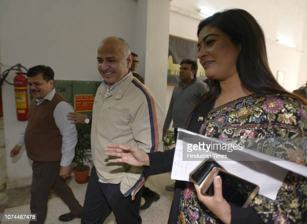 Deputy Chief Minister Manish Sisodia and AAP MLA from Chandni Chowk Alka Lamba Aam Aadmi Party MLA from Wazirpur Rajesh Gupta arrive to attend the...