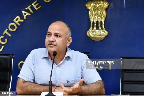 Deputy Chief Minister Manish Sisodia speaks during a press conference at Delhi Secretariat on July 26 2017 in New Delhi India Sisodia said the...