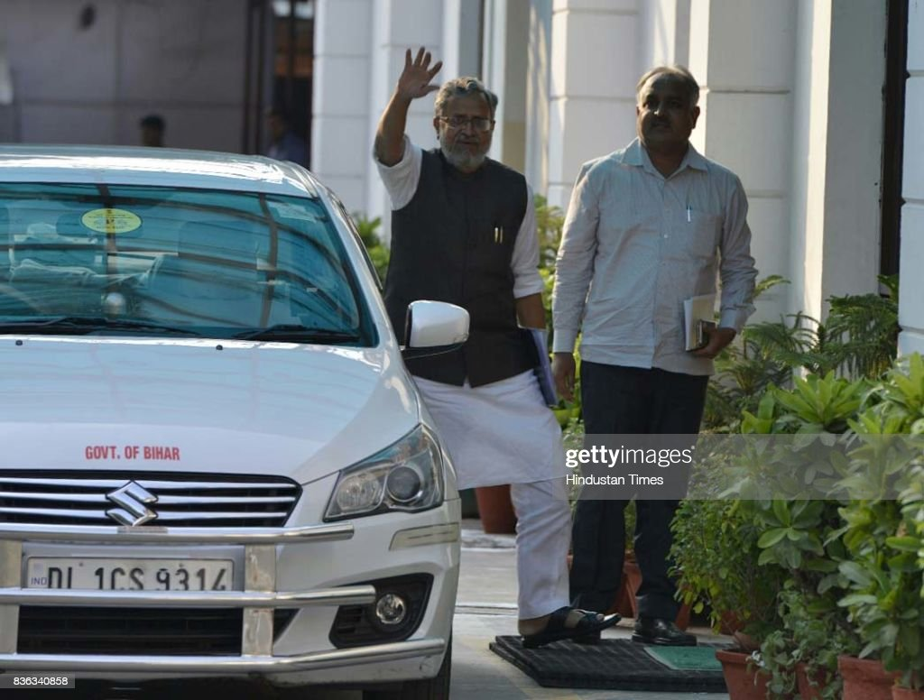 Deputy Chief Minister of Bihar Sushil Kumar Modi arrives at BJP HQ for attending the BJP Chief Ministers' Conference addressed by Prime Minister Narendra Modi and BJP National President Amit Shah at Mukhyamatri Parishad Baithak (meeting of chief ministers of BJP-ruled states) on August 21, 2017 in New Delhi, India.