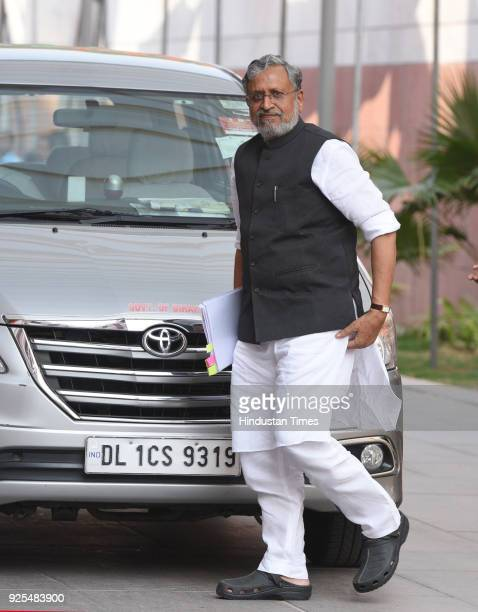 Deputy Chief Minister of Bihar Sushil Modi arrives for BJP Chief Ministers meeting at party headquarter on February 28 2018 in New Delhi India The...