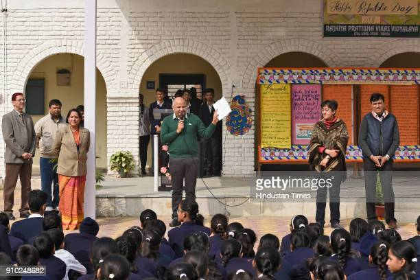 Deputy Chief Minister of Delhi Manish Sisodia during the Republic Day celebrations at RPVV school in Civil Lines on January 25 2018 in New Delhi...