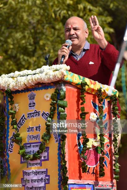 Deputy chief minister of Delhi Manish Sisodia speaks during the foundation stone laying event at Sarvodaya Kanya Vidyalaya on January 28 2019 in New...