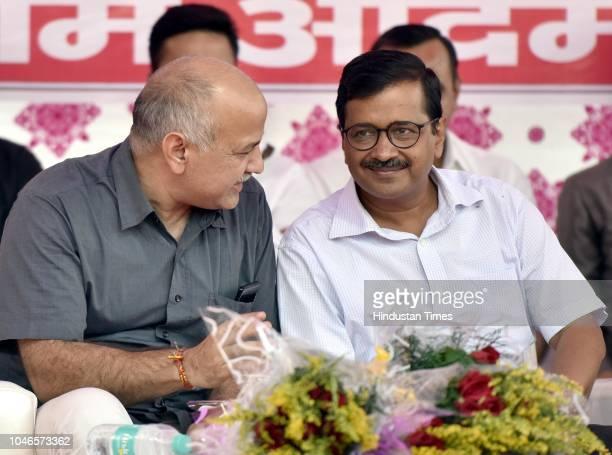 Deputy Chief Minister of Delhi Manish Sisodia with Chief Minister Arvind Kejriwal during a meeting with East Delhi RWA at Dhobhi Ghat Pandav Nagar...
