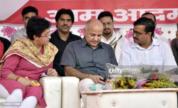 Deputy Chief Minister of Delhi Manish Sisodia with Chief Minister Arvind Kejriwal and AAP leader Atishi Marlena during a meeting with East Delhi RWA...