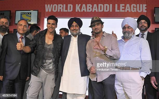 Deputy Chief Minister of Punjab and WKL president Sukhbir Badal with team Speedy Singhs coowner Akshay Kumar and team Yo Yo Tigers coowner Yo Yo...