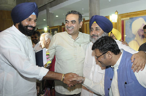 Deputy Chief Minister of Punjab Sukhbir Singh Badal with Cabinet Minister Bikram Singh Majithia and BJP leaders Kamal Sharma and Sanjay Tandon share..