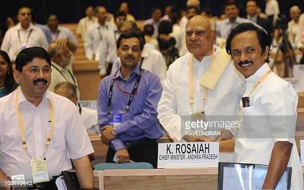 Deputy Chief Minister of the southern Indian state of Tamil Nadu Mu Ka Stalin Chief Minister of Andhra Pradesh Konijeti Rosaiah and Indian Textile...