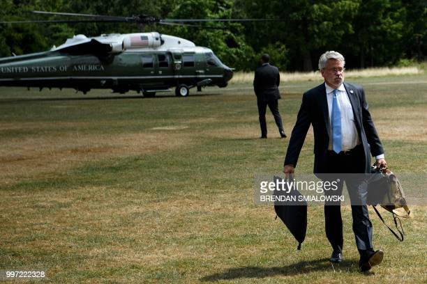 Deputy Chief of Staff for Communications Bill Shine arrives at the US ambassador's residence Winfield House in London on July 12 2018 The fourday...