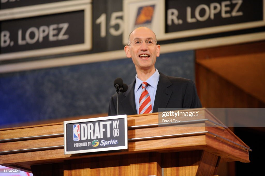 Deputy Commissioner Adam Silver addresses the crowd during the 2008 NBA Draft at the WaMu Theatre at Madison Square Garden June 26, 2008 in New York City.
