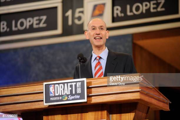 Deputy Commissioner Adam Silver addresses the crowd during the 2008 NBA Draft at the WaMu Theatre at Madison Square Garden June 26 2008 in New York...