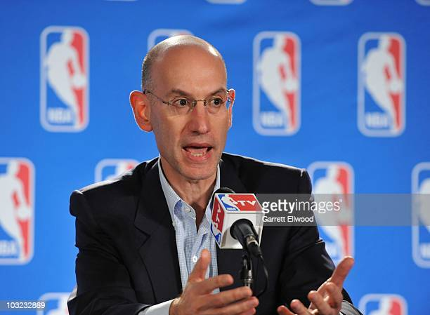 Deputy Commissioner Adam Silver addresses the media during a press conference following the board of governors meetings at NBA Summer League on July...