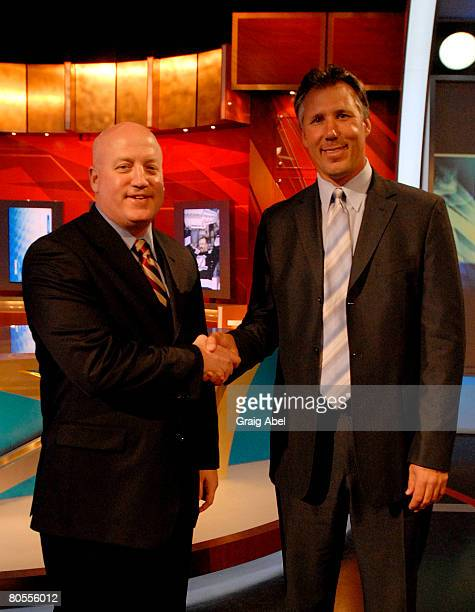 Deputy Commissioner Bill Daily congratulates Tampa Bay Lightning's Dave Andreychuk at the NHL Draft lottery April 7 2008 at the TSN Studios in...