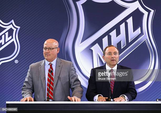 Deputy Commissioner Bill Daly and Commissioner Gary Bettman address the media during the Board Of Governors Press Conference prior to the 2016 NHL...