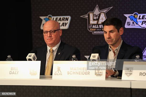 Deputy Commissioner Bill Daly and NHLPA Special Assistant to the Executive Director Mathieu Schneider attend the NHL/NHLPA Learn to Play Press...