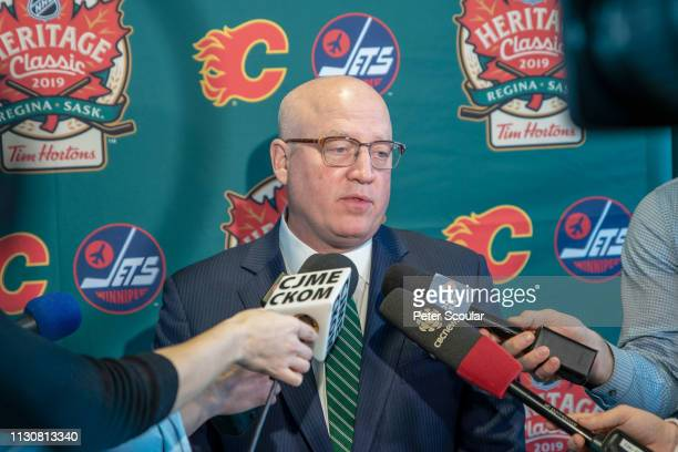 Deputy Commissioner Bill Daly answers questions following the 2019 Heritage Classic press conference held at Mosaic Stadium on March 15 2019 in...