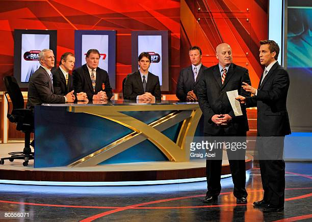 Deputy Commissioner Bill Daly explains the NHL Draft lottery to TSN Host James Duthie April 7 2008 at the TSN Studios in Toronto Ontario Canada