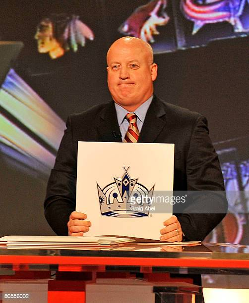 Deputy Commissioner Bill Daly holds up NHL Draft lottery card April 7 2008 at the TSN Studios in Toronto Ontario Canada