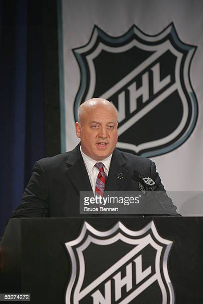 Deputy Commissioner Bill Daly of the National Hockey League at the NHL draft lottery held at the Sheraton New York Hotel and Towers on July 22 2005...