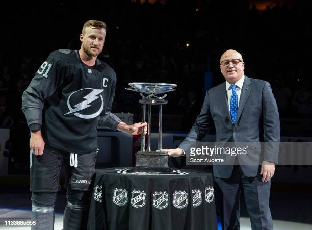 Deputy Commissioner Bill Daly presents the 2019 NHL Presidents Trophy to Steven Stamkos and the Tampa Bay Lightning as the leagues winningest regular...