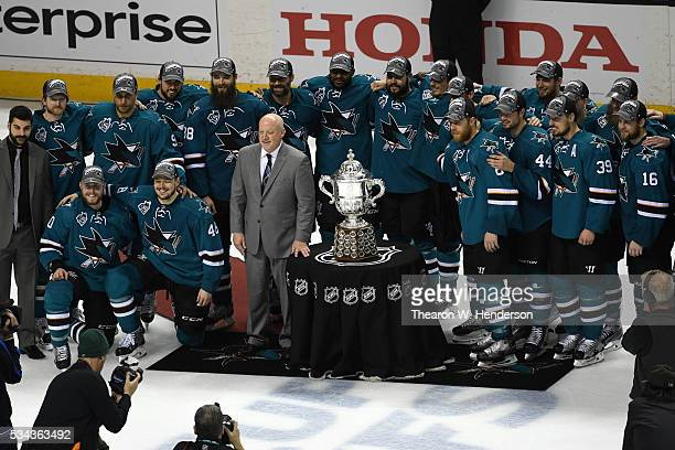 Deputy Commissioner Bill Daly presents the Clarence S Campbell Bowl to Joe Pavelski and the San Jose Sharks after their 52 win over the St Louis...