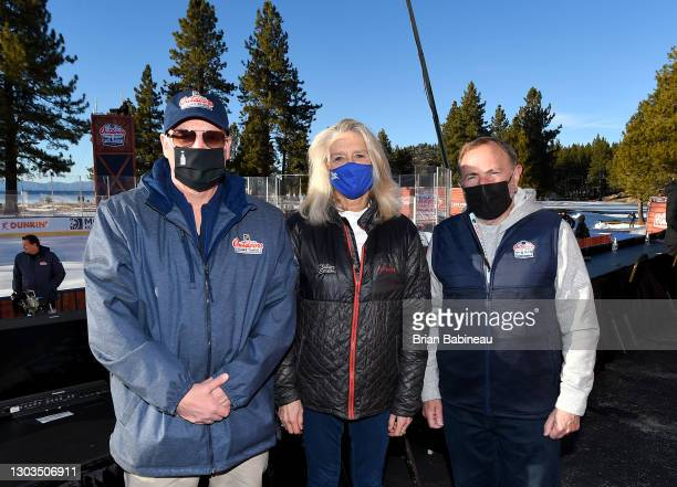 Deputy Commissioner Bill Daly, President & CEO of the Lake Tahoe Visitors Authority Carol Chaplin and NHL Commissioner Gary Bettman pose together...