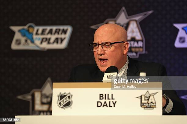 Deputy Commissioner Bill Daly speaks at the NHL/NHLPA Learn to Play Press Conference during 2017 NHL AllStar Media Day as part of the 2017 NHL...