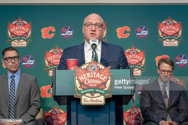 Deputy Commissioner Bill Daly speaks during the 2019 NHL Heritage Classic press conference at Mosaic Stadium on March 15, 2019 in Regina,...