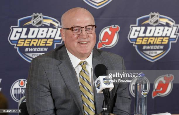 NHL deputy commissioner Bill Daly speaks to media before the 2018 NHL Global Series Challenge at Scandinavium on October 6 2018 in Gothenburg Sweden