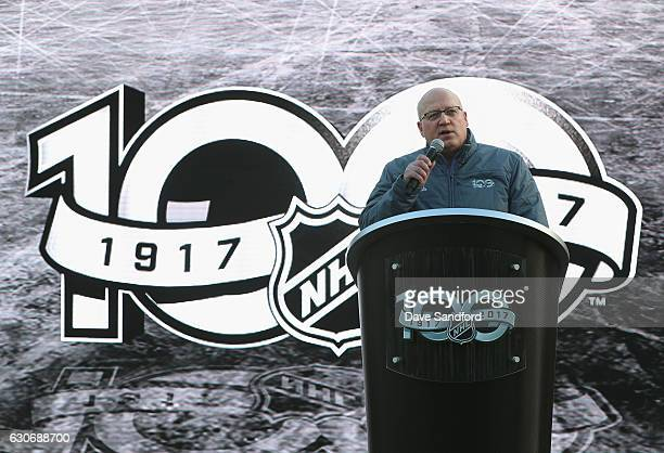 Deputy Commissioner Bill Daly speaks to the media at the NHL Centennial Fan Arena unveiling as part of the 2017 Scotiabank NHL Centennial Classic at...