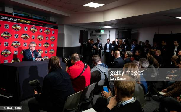 Deputy Commissioner Bill Daly speaks to the media prior to the NHL Global Series Challenge game between Edmonton Oilers and Kolner Haie at Lanxess...