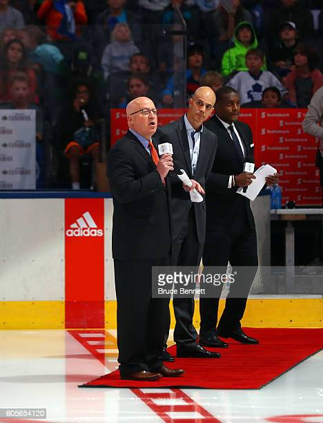 Deputy Commissioner Bill Daly speaks to the students during the World Cup of Hockey 2016 Future Goals Showcase at Air Canada Centre on September 14...