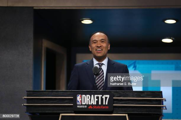 Deputy Commissioner Mark Tatum addresses the media during the 2017 NBA Draft on June 22 2017 at Barclays Center in Brooklyn New York NOTE TO USER...