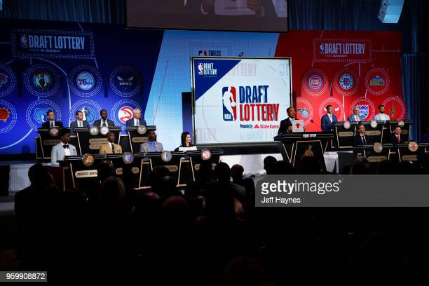 Deputy Commissioner Mark Tatum awards the Chicago Bulls the number seven pick in the 2018 NBA Draft during the 2018 NBA Draft Lottery at the Palmer...