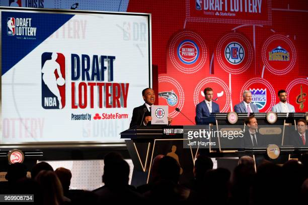 Deputy Commissioner Mark Tatum awards the LA Clippers the number thirteenth pick in the 2018 NBA Draft during the 2018 NBA Draft Lottery at the...