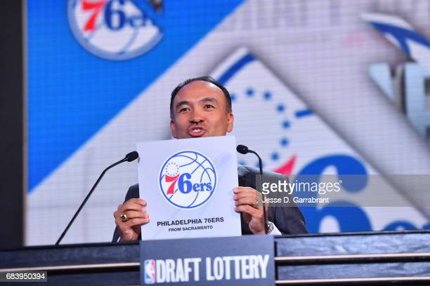 Deputy Commissioner of the NBA Mark Tatum announces the Philadelphia 76er's 3rd pick during the 2017 NBA Draft Lottery at the New York Hilton in New...